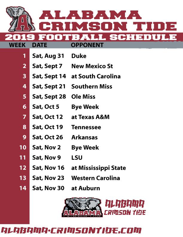 Alabama Crimson Tide | Live Stream, Alabama Football, TV Schedule, Game, Today/Tonight, College Football, 2019